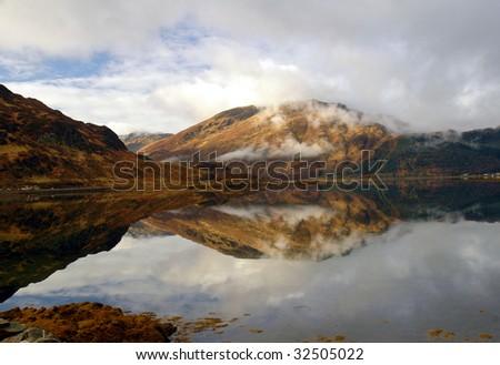 Loch Duich mirror - stock photo