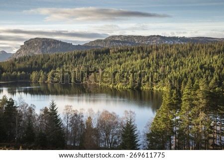 Loch Farr in the Scottish Highlands. - stock photo