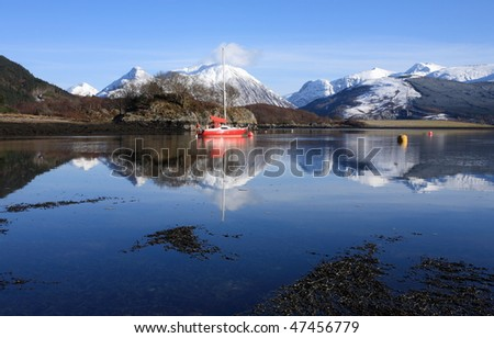 Loch Leven and the Pap of Glencoe. - stock photo