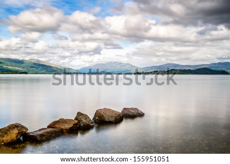 Loch Lomond, at the boundary to the Highlands, Scotland's biggest freshwater lake - stock photo