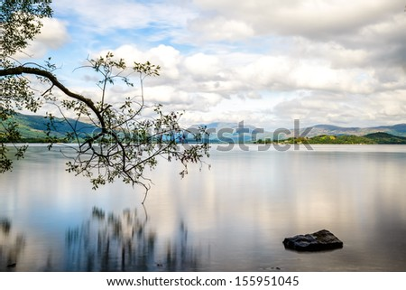 Loch Lomond, at the boundry to the Highlands, Scotland's biggest freshwater lake - stock photo