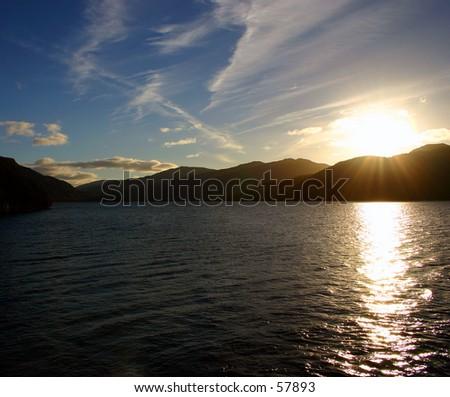 Loch Lomond In Scotland at dusk - stock photo