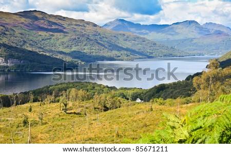 Loch Lomond, Scotland from the Ben Lomond summit route - stock photo