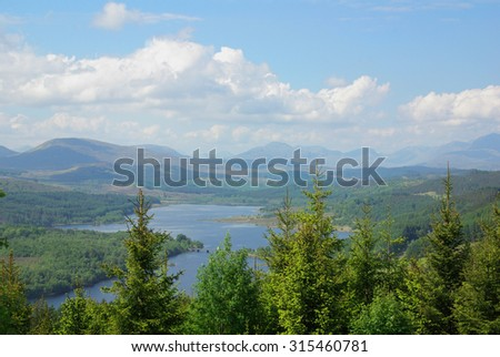 Loch Loyne, East Glenquoich Forest, Highland, Scotland - stock photo