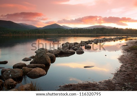 Loch Morlich at sunset - stock photo