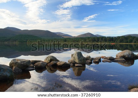 Loch Morlich, Highlands of Scotland - stock photo