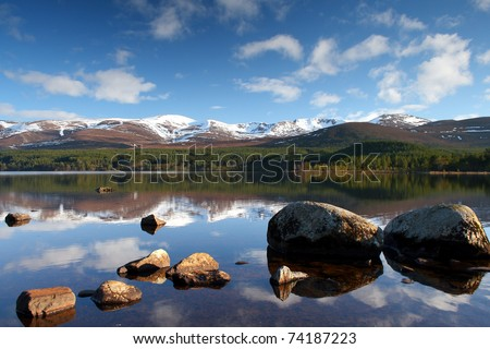 Loch Morlich in the Cairngorm National Park, Highlands of Scotland - stock photo