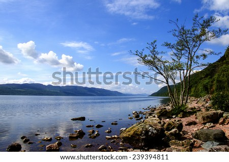 Loch Ness, Scotland and the countryside - stock photo