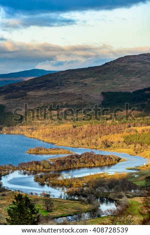 Loch Tay with confluence of the river Dochart near Killin in spring - stock photo