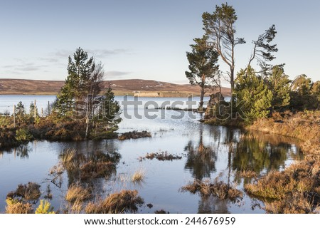 Lochindorb & Castle ruins in Scotland. - stock photo
