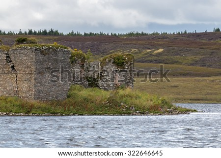 LOCHINDORB, HIGHLANDS/SCOTLAND - AUGUST 27 : The derelict castle at Lochindorb Highlands Scotland on August 27, 2015