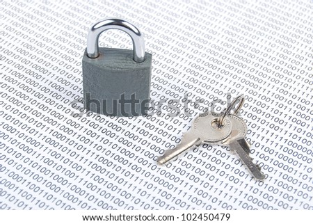 Lock and binary code - stock photo