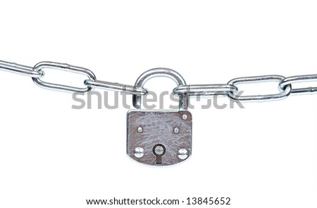 Lock and chain isolated on white, clipping path included