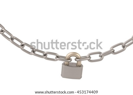 lock and chains on white background,3D illustration. - stock photo