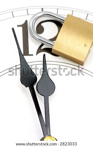 lock and clock with white background, concept of time control