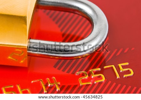 Lock and credit card - business security background - stock photo