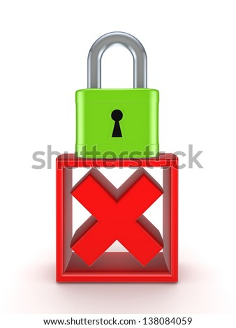 Lock and cross mark.Isolated on white background.3d rendered. - stock photo