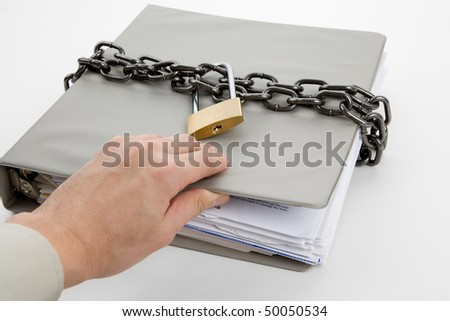 Lock and file folder, concept of Confidential Document - stock photo