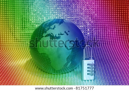 Lock and grass earth with technology style against fiber optic background - stock photo