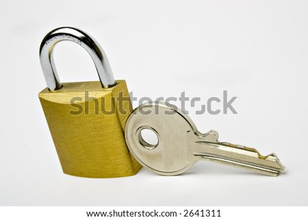 LOCK AND KEY ISOLATED ON WHITE
