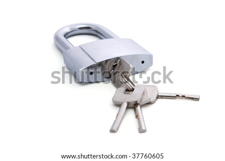 lock and keys on white background