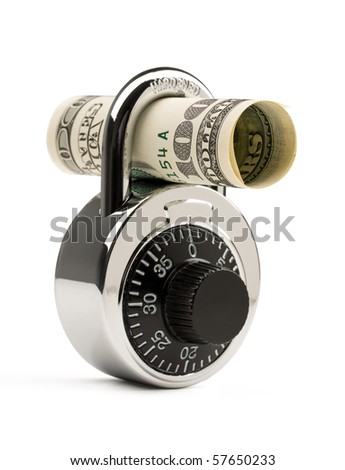 Lock and US dollar isolated on white background. Concept of money safety or investment. - stock photo