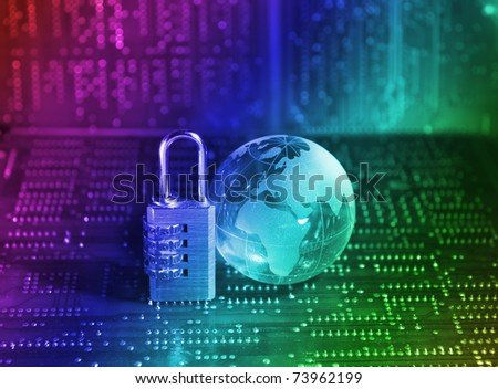Lock and world map with technology background - stock photo