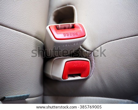 Lock car seatbelt - stock photo