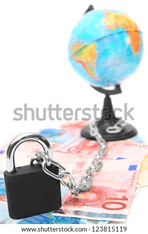 Lock, chain, globe and are a lot of money. On a white background. - stock photo