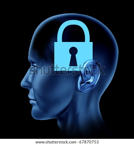 lock closed locked secrets mystery symbol Brain mind head idea intelligence - stock photo