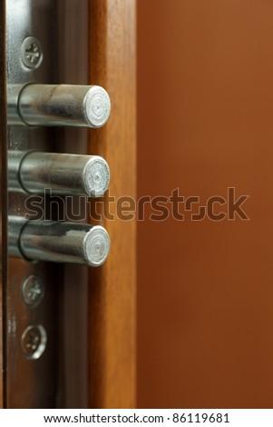 Lock - Detail of modern office door background - stock photo