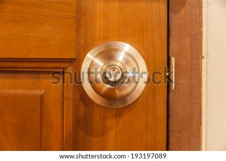 Lock door control in room on hotel. - stock photo