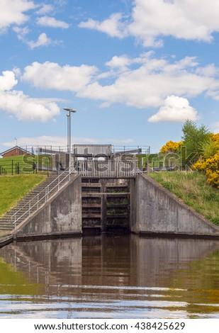 Lock gates on calan at Thje Falkirk Wheel, Falkirk, Scotland, UK - stock photo