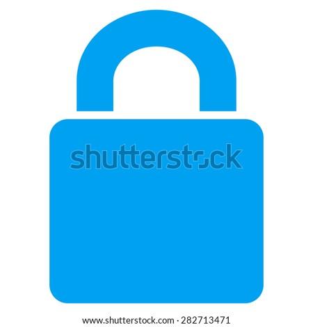 Lock icon from Basic Plain Icon Set. Style: flat symbol icon, blue color, rounded angles, white background. - stock photo