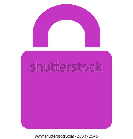 Lock icon from Basic Plain Icon Set. Style: flat symbol icon, violet color, rounded angles, white background. - stock photo