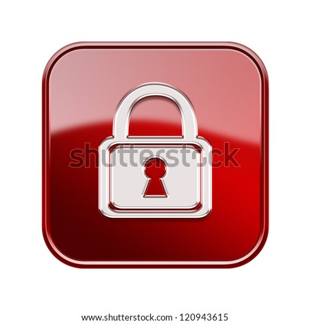 Lock icon glossy red, isolated on white background - stock photo