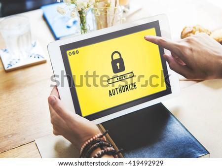 Lock Icon Password Protected Graphic Concept - stock photo