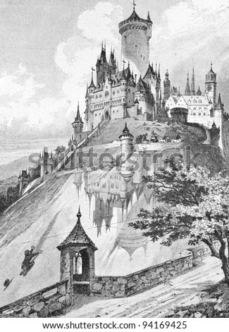 "Lock in a glass mountain (the Brothers Grimm fairy tale). Engraving by  unknown artist. Published in magazine ""Niva"", publishing house A.F. Marx, St. Petersburg, Russia, 1893 - stock photo"