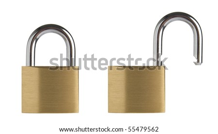 Lock in two position, locked and unlocked. Isolated on white background. - stock photo