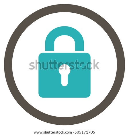Lock Keyhole glyph bicolor rounded icon. Image style is a flat icon symbol inside a circle, grey and cyan colors, white background.