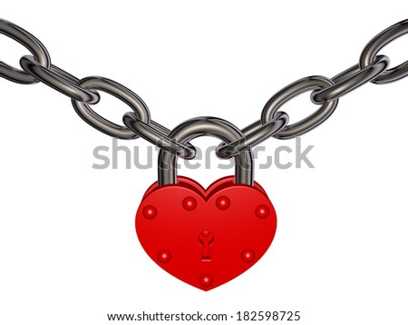 Lock of love - red heart lock and chain - stock photo