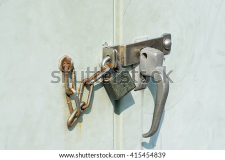lock on door old silver knob - can use to display or montage product - stock photo