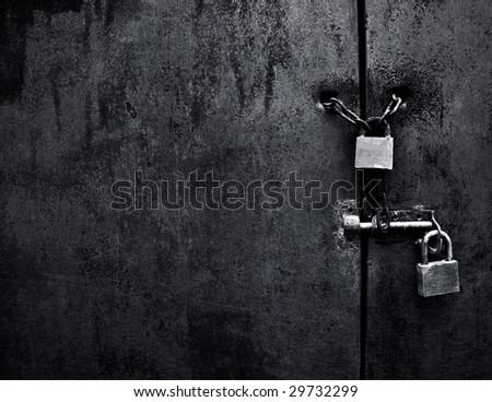 lock on iron door - stock photo