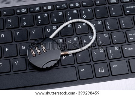 Lock on notebook keyboard, conceptual image.
