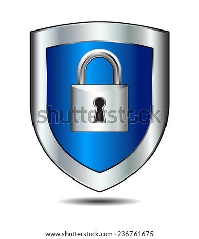 Lock on shield - concept internet protection - Password Protected - stock photo