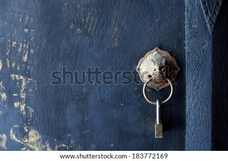 Lock on the door of Buddhist temple / Lock on the door  - stock photo