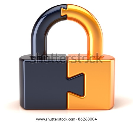 Lock padlock security data safeguard. Puzzle link closed secret code encryption colored golden black. Access system password icon concept. Detailed 3d render. Isolated on white background - stock photo