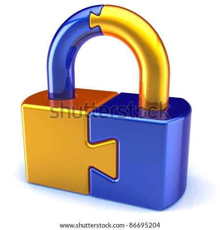 Lock padlock security password safeguard. System access icon concept. Puzzle link closed secret code encryption colored golden blue metallic parts. Detailed 3d render. Isolated on white background - stock photo