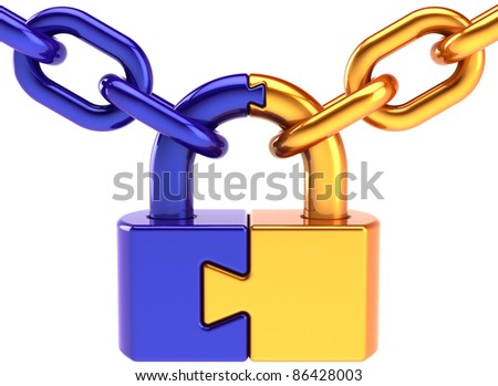 Lock padlock security puzzle safeguard. Closed chain link secret code encryption hacker abstract. Strong password hold icon concept. Detailed 3d render. Isolated on white background - stock photo