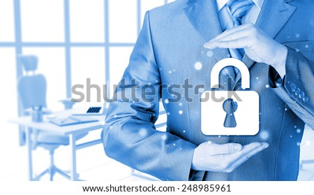 lock security businessman protect concept - stock photo
